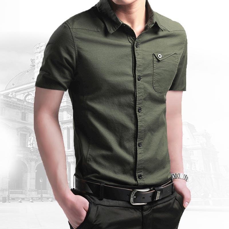 2021 New Summer 100% Cotton Shirts for Men New Breathable Military Men Shirts Short Sleeve Slim Men's Shirts Men Brand Clothing 1