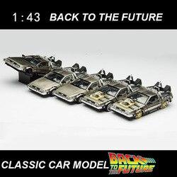 1/43 báscula de aleación de Metal de coche fundido parte 1 2 3 máquina del tiempo DeLorean DMC-12 modelo de juguete de vuelta al futuro colección