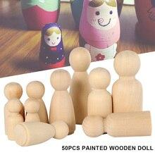Wooden Peg Dolls 50PCS 65mm,55mm,43mm,35mm Girl Boy Wood Dolls Kids Room Decor DIY Unfinished Wooden Peg Dolls