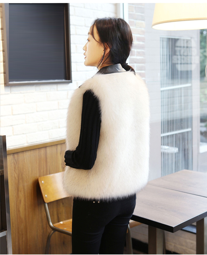 Autumn And Winter Fox Fur Sleeveless Vest Faux Fur PU Leather Stitching Vest Female 2019 Short Fashion Lapel Imitation 38