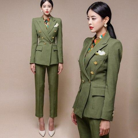 New Runway Fashion 2 Piece set women business work wearing pant suits Office Lady set suits Pakistan