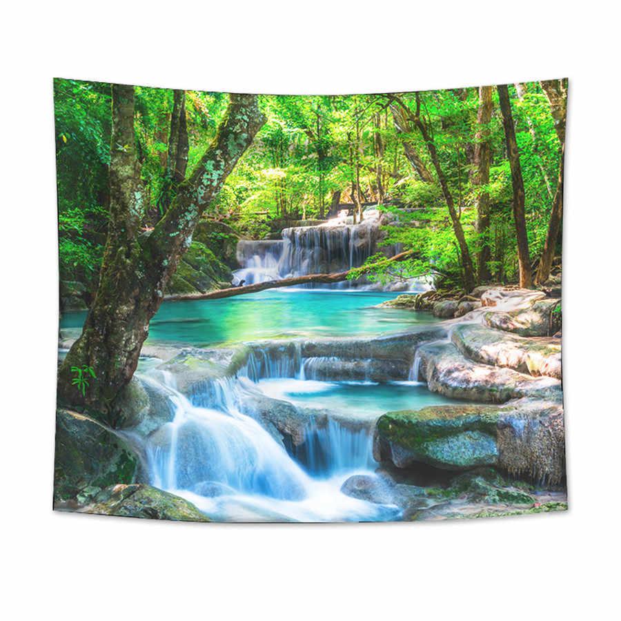を森の滝タペストリー壁掛け砂浜ピクニックラグキャンプテント睡眠パッド家の装飾ベッドカバーシート壁布