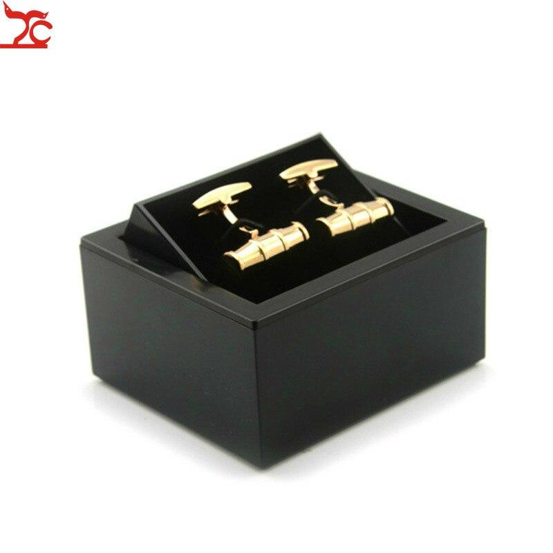 Degrees Black Plastic Cufflinks Box Men Shirt Cufflinks Carrying Case Cuff Link Flip Cover Organizer Boxes 8*7.5*4.5cm