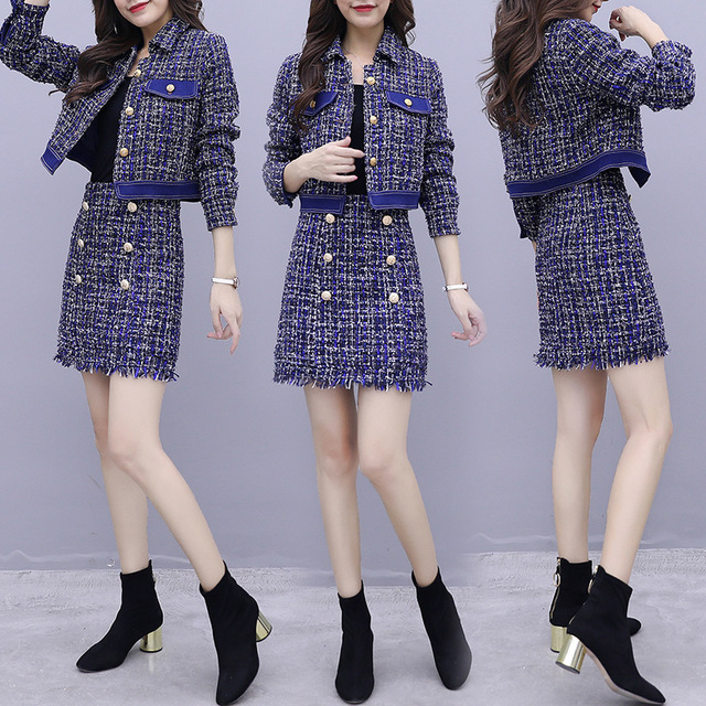 Womens Casual Tweed Skirt Suits Korean Fashion Spring Autumn Ladies Jacket and Skirt Set Woman Plaid Striped Skirts Suit 2 Piece