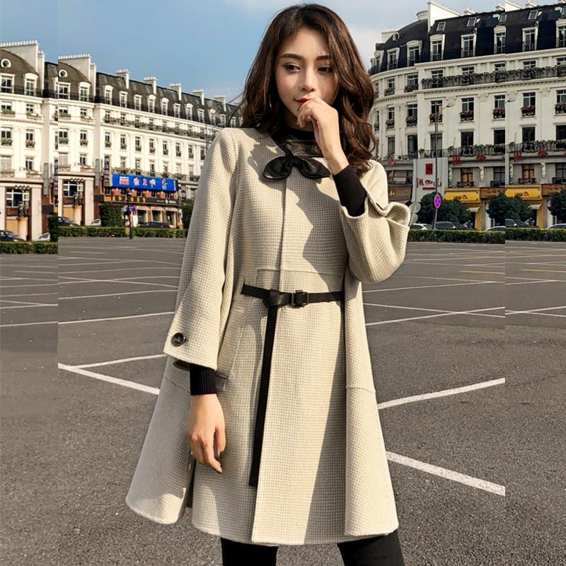 HAMALIEL, осенне-зимнее шерстяное Свободное пальто в клетку, новинка, модное женское твидовое шерстяное пальто с бантом, длинным рукавом и поясом в ломаную клетку - Цвет: Бежевый
