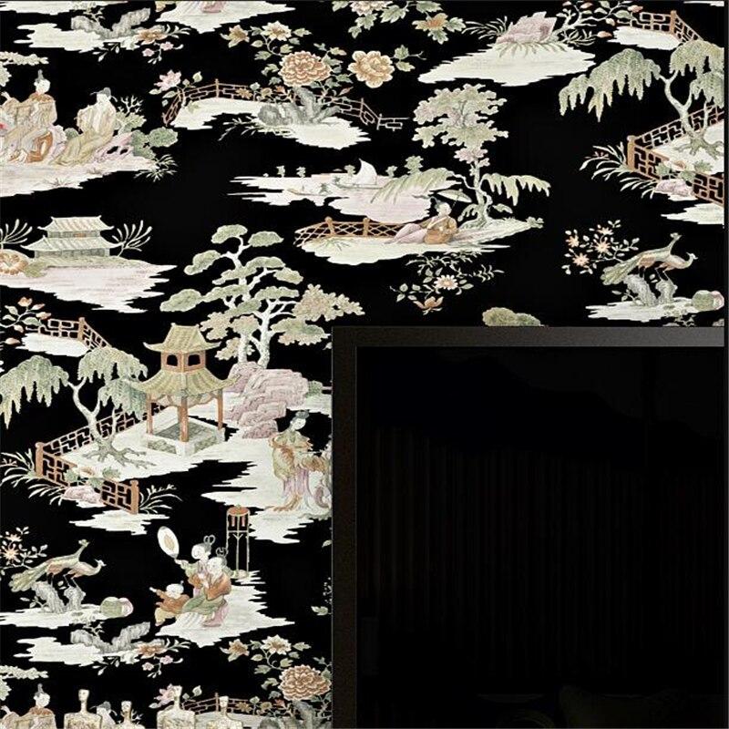 Wellyu chinois classique papier peint paysage peinture encre salon chambre thé maison hôtel restaurant papier peint