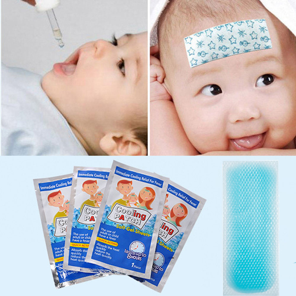 5bags Cooling Patches Baby Fever Down Plaster Migraine Headache Pad Lower Temperature Ice Gel Polymer Hydrogel
