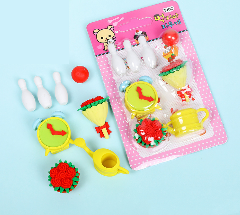 Eraser Set TPR Rubber Cute Water Pot Bowling Flowers Pencil Erasers Stationery Kids Gifts School Supplies Prize