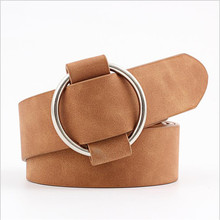 No Pin Metal Buckle Women Dress Strap Belt No Hole Adjustable PU Round Buckle Belts Leisure Jeans Wild Female Belt