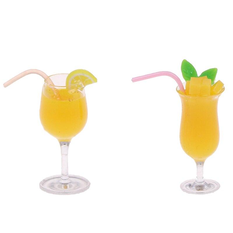 1/12 Dollhouse Mini Ature Accessories Decoration Mini Lemon Water Cup Simulation Lemon Ade Cup Drink Pearl Milk Tea Model Toy