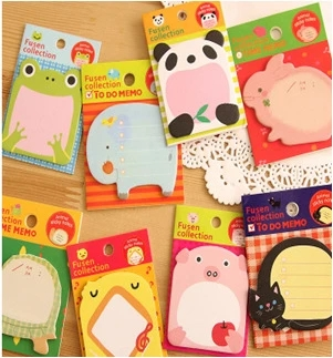 160 PCs Korean creative stationery cute cartoon tearable notebook convenience stickers wholesale