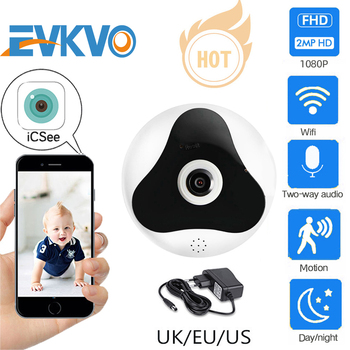 EVKVO Fisheye VR 360 Degrees Panoramic Camera HD 1080P Wireless Wifi IP Camera CCTV Home Security Surveillance System Cam ICSEE