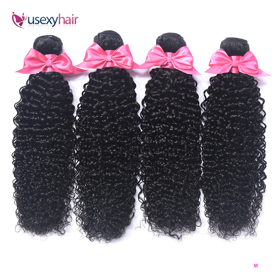 USEXY Mongolian Kinky Curly Hair Bundles Remy Human Hair Extensions Nature Color Buy 1/3/4 Bundles Thick Kinky Curly Bundles