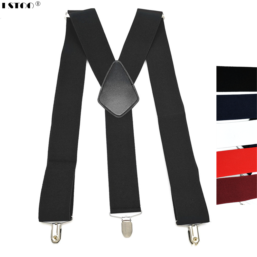 Large Size 50mm Width Adult Suspender Protect Clips Elastic Leather Cross Y  Back Men Suspenders Hold Up Pants Worker Braces