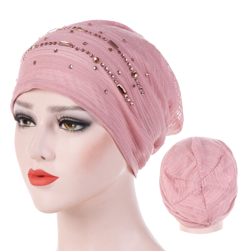 Summer Thin Lace Turban Solid Cotton Inner Hijab Caps Soft Glitter Muslim Women Turbante Bonnet Wrap Head Hijab Underscarf Cap
