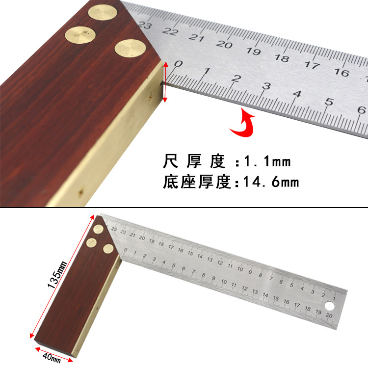 1x Steel L-Square Angle Ruler 90 Degree Ruler For Woodworking Tool Carpente O8P2