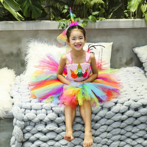 Image 5 - Arco íris princesa crianças unicórnio vestido menina unicórnio natal tutu vestido flor menina vestido de festa com unicórnio bandana asa conjunto