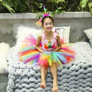 Image 5 - Rainbow Princess Children Unicorn Dress Girl Unicorn Christmas Tutu Dress Flower Girl Party Dress with Unicorn Headband Wing Set