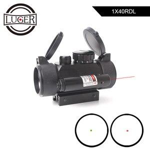 1X40 Red Green Dot Hunting Scope Tactical Optics Sight Riflescope 11/20mm Rail Red Laser Air Gun Rifle Scope