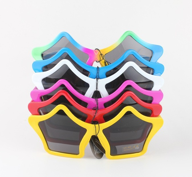 Cute Candy Color Star-shaped Kids Sunglasses Fitting Children Lovely Party Costume Accessories Exaggerated Style 6 Colors