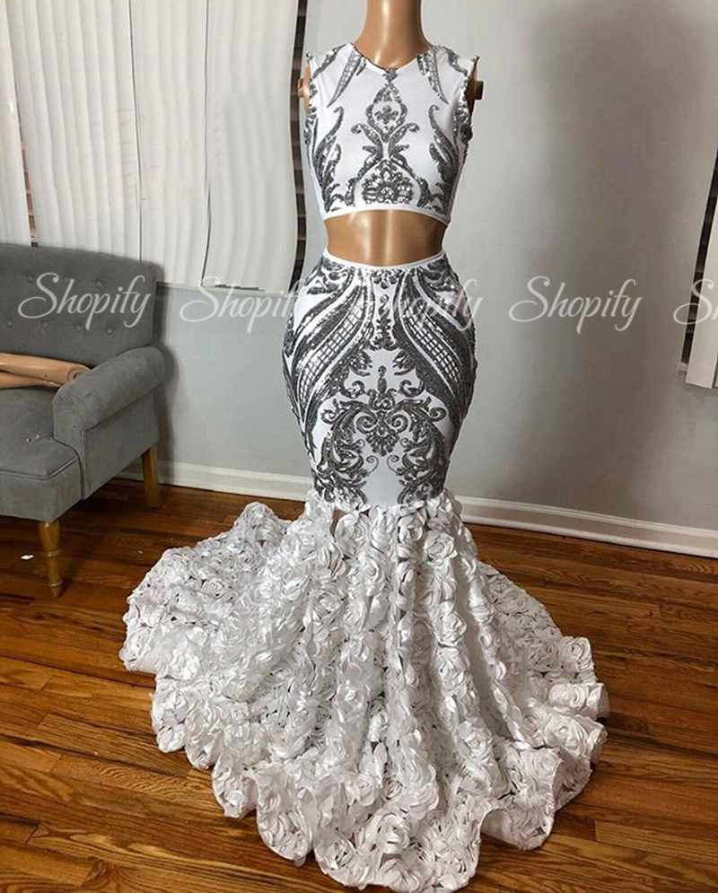 Two Piece Silver Long Prom Dresses 2020 Sexy Mermaid Sequin African Black Girls Gala Prom Gowns