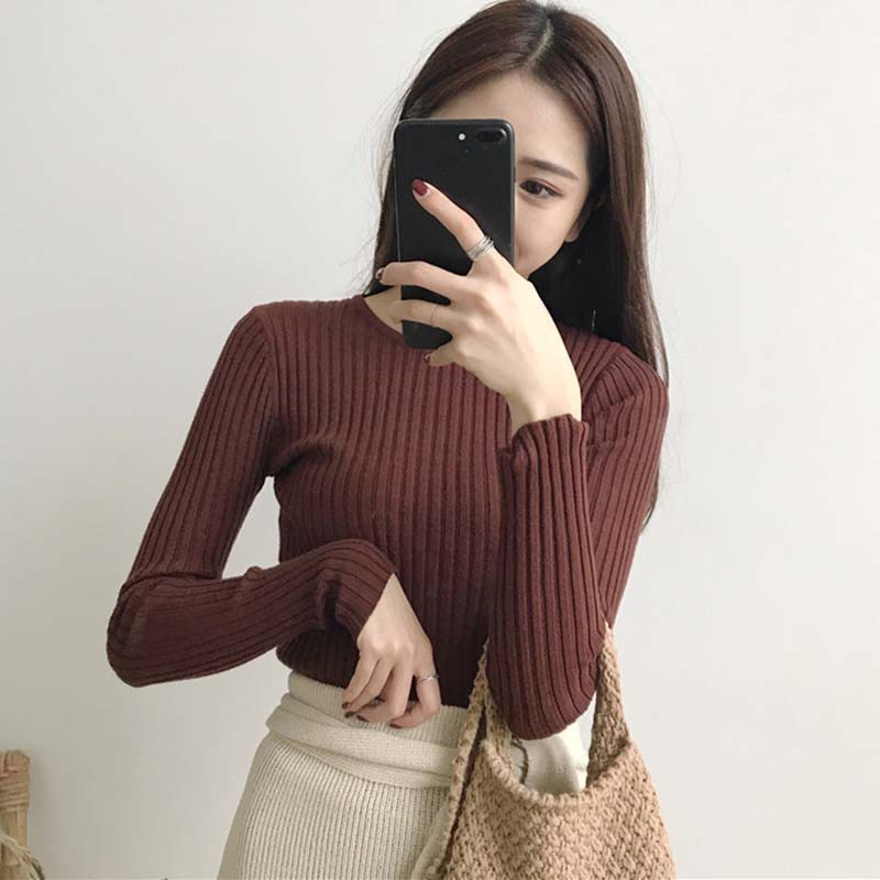 Women Sweater Knit O-neck Pullovers Autumn Basic Female Sweaters Pullover Slim Fit Simple Solid Color Korean Style Fashion Tops