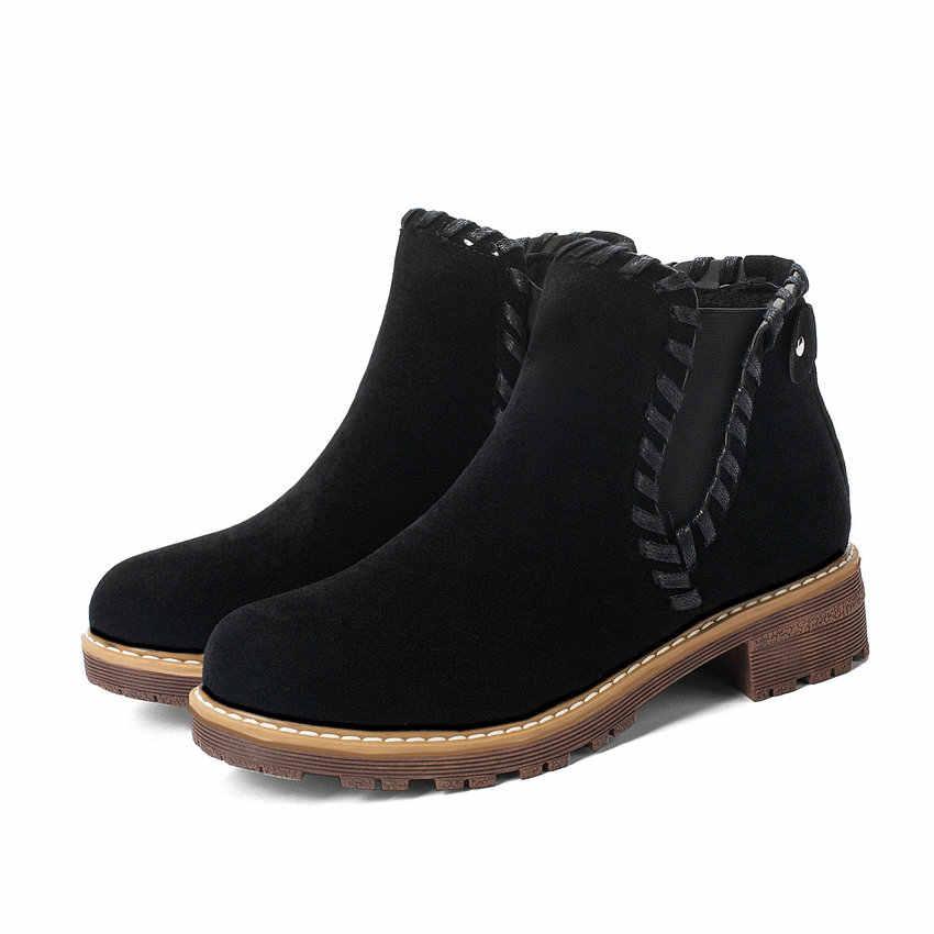 ESVEVA 2020 Kadın Ayakkabı yarım çizmeler Yuvarlak Ayak PU Deri Fırçalama Med Topuk Üzerinde Kayma Katı Motosiklet Platformu Çizme Boyutu 34 -43
