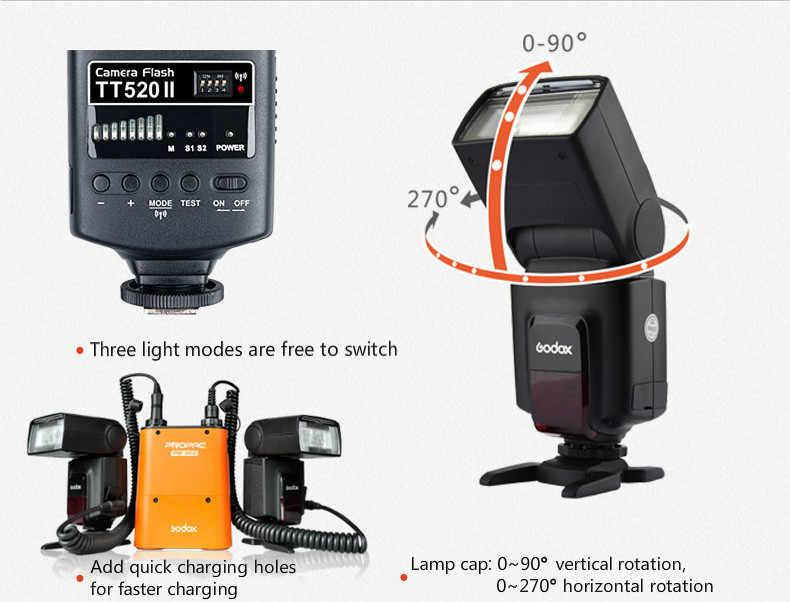 GODOX กล้องแฟลช TT520II พร้อม Build-in สัญญาณไร้สาย 433MHz สำหรับ Canon Nikon Pentax Olympus SONY DSLR กล้อง SPEEDLITE