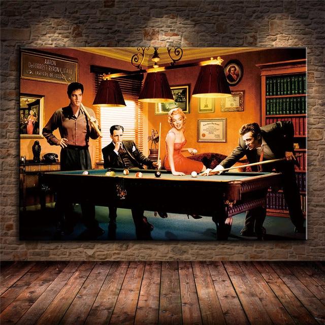 Elvis Presley, Humphrey Bogart, Marilyn Monroe & James Dean Playing Billiard 1