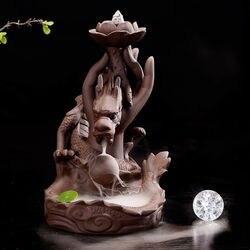 Smok purpurowa glina kadzidło z przepływem zwrotnym palnik uchwyt kadzidła 10 szyszek dla fragranu w Posągi i rzeźby od Dom i ogród na