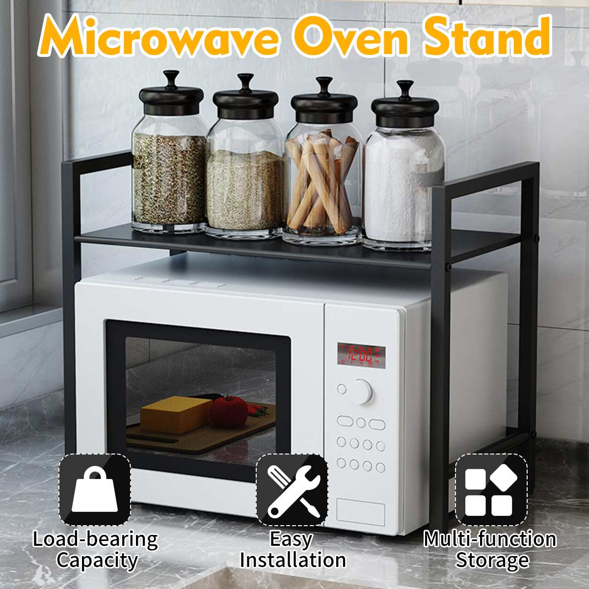 Kitchen Microwave Oven Shelf Rack Standing Metal Multi Function  Home Storage Holders Kitchen Shelf Organizer Space Saving
