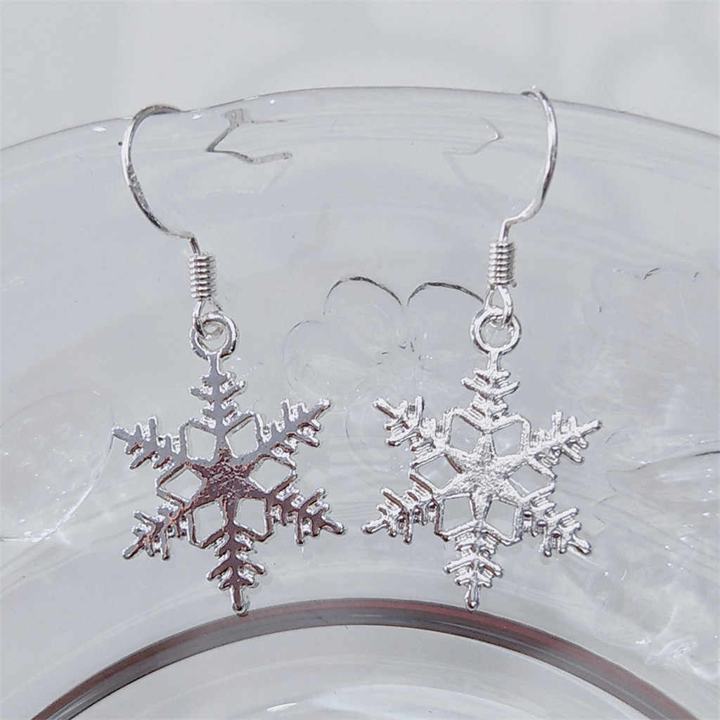 Bohème Vintage argent flocon de neige modélisation longues boucles d'oreilles Simple européen et américain boucles d'oreilles dames sauvages bijoux de mode # ZD