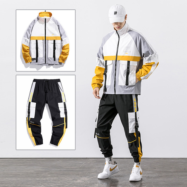 2021 Hip Hop Workwear jacket Mens Tracksuit Jacket+Pants 2PC Sets baseball loose Zipper Ribbons Coat & Long Pants Mens Clothing 3