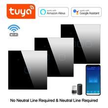 Inteligentny przełącznik WIFI Tuya APP pilot działa z Alexa Google Home AC220V przełącznik dotykowy do światła LED nie wymaga przewodu neutralnego