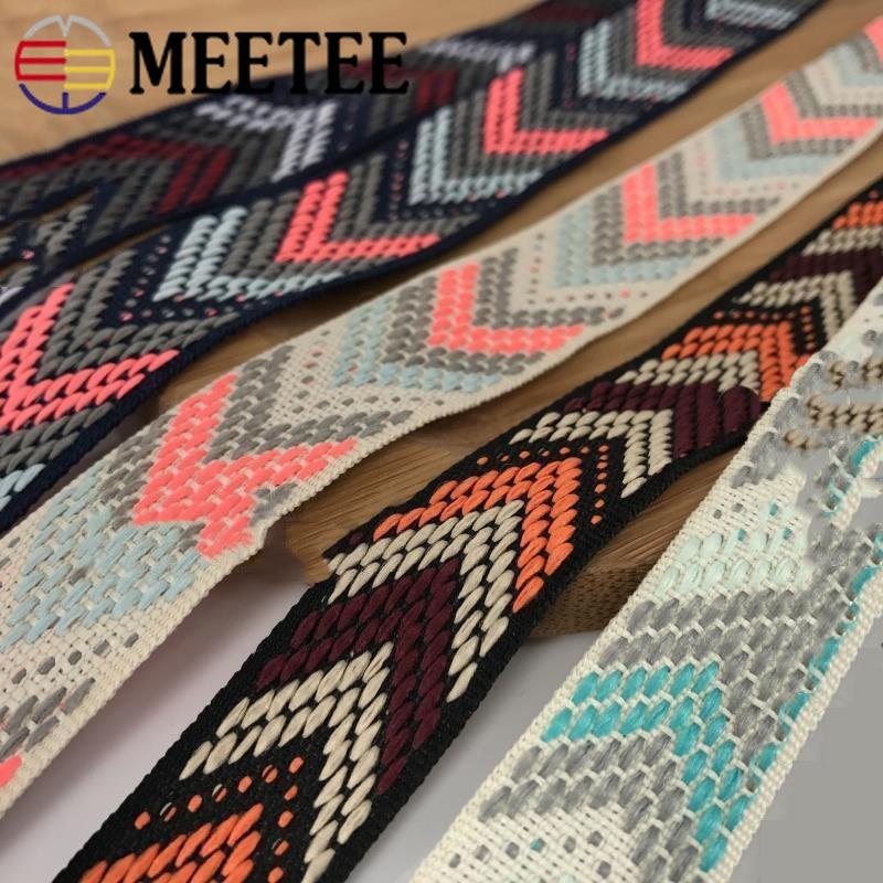 Meetee 8M 20/25mm Polyester Jacquard Webbings Ethnic Lace Trims Decorative Ribbon DIY Belt Strap Jewelry Webbing Accessories