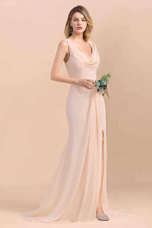 Depan Splite Panjang Gaun Bridesmaid Pleat Chiffon Ramah Kulit Gaun Tamu Pernikahan Gaun Jubah Demoiselle D'honneur Vestido Madrinha