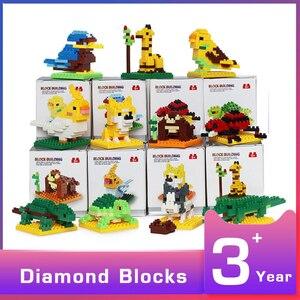 Mini blocos animais de plástico modelo de construção kits educativos figuras jogo micro tijolos crianças brinquedos para crianças diy montagem dominó