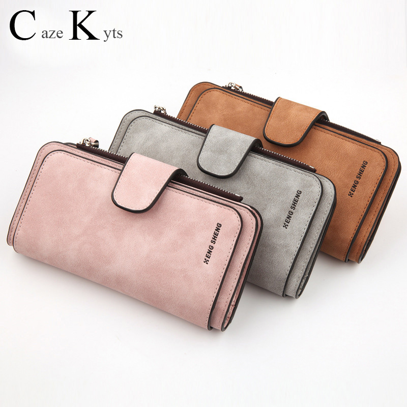 New Hot Ladies Long Leather Clutch Purse Fashion, Casual, Solid Color, Simple Zipper Buckle Design Large Capacity Long Wallet