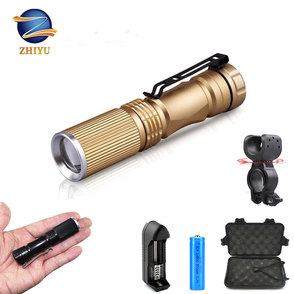 ZHIYU Mini LED Flashlight XPE Q5 LED Telescopic Focusing Light Flashlight 14500 And AA Three-mode Outdoor Lighting Camping Torch