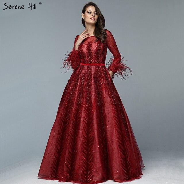 Lüks şarap kırmızı Dubai tasarım abiye uzun kollu tüyleri kristal resmi elbise 2020 Serene tepe LA70013