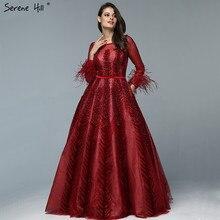 Luxury Wine Red  Dubai Design Evening Dresses Long Sleeves Feathers Crystal Formal Dress 2020 Serene Hill LA70013