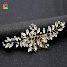 Свадебная заколка для волос Стразы с кристаллами и жемчугом