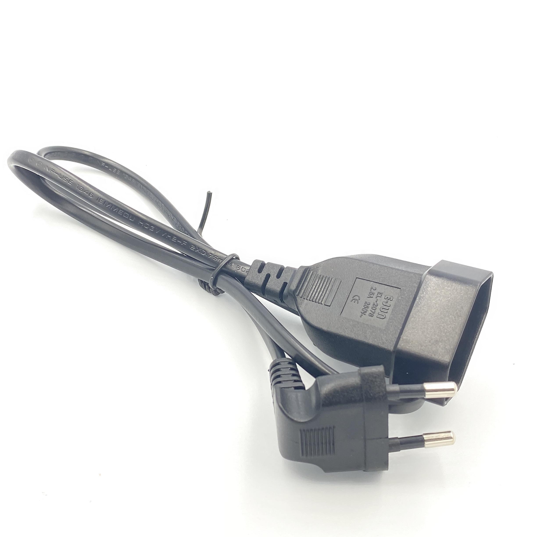 Европейский 90 градусов штекер к гнезду удлинитель питания кабель для ПК компьютера PDU 0,3 м/0,6 м/1,8 м EU 2 зубец изгиб угловой шнур