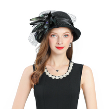 Fedoras Hat Black Fascinator For Women Elegant Church Wool Material Feather Decoration Wedding Headwear Hair Accessories
