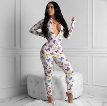 Butterfly Print White Jumpsuit Women Long Sleeve Zip Closure Playsuit Sexy Skinny Woman Bodycon V Neck Outfits Overalls Romper black zip front v neck long sleeves bodycon jumpsuit