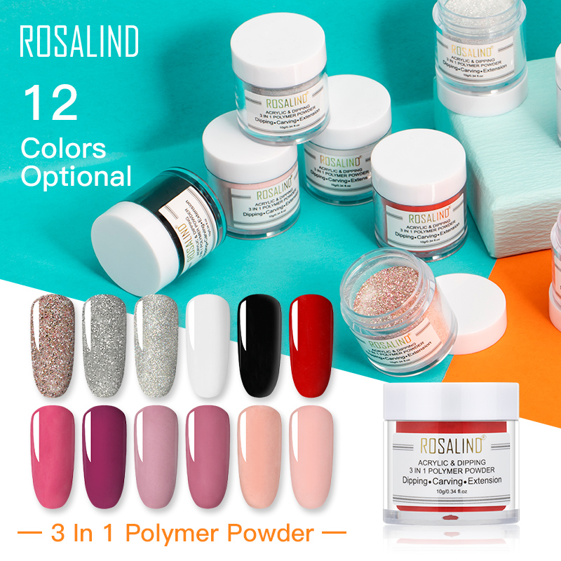 ROSALIND Glitter Acrylic Powder Nail Pollen Nail Extension Builder Dipping Powder Nail Art Carving Decoration For Manicure