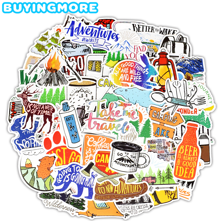 50PCS Camping Travel Sticker Simple Lines Landscape Outdoor Adventure Animal Waterproof Stickers DIY Laptop Suitcase Car Sticker