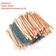600PCS/LOT 10 ohm-1M ohm 1/4W  Metal Film Resistor Kit 1% Resistor Assorted Kit Set 10R-1MR Resistance Pack 30 Values each 20PCS
