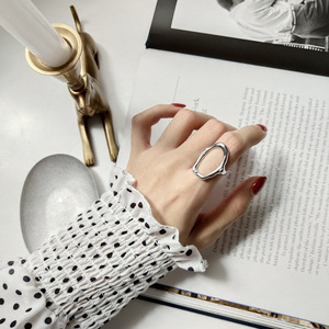 Image 5 - F.J4Z 100% S925 sterling silver new arrival metal style  fashion women hollow irregular shape finger rings for party wedding