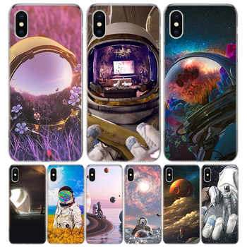 Astronaut Lonely Funny Space Phone Case For Apple IPhone 11 12 Pro Mini XR X XS Max 7 8 6 6S Plus + 7G 6G 5 SE 2020 Luxury Patte image